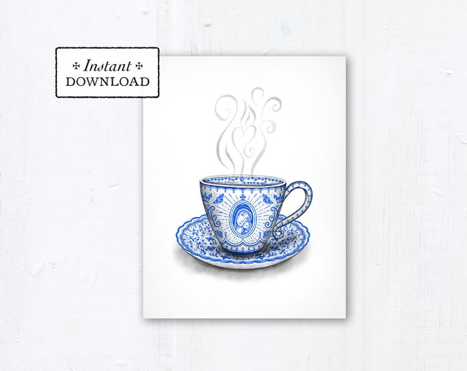 "Marian Teacup Card - Art Print - Instant Download - Downloadable PDF 4.25""x5.5"" A2 - Catholic Printable Card Mother's Day Card Marian Art"