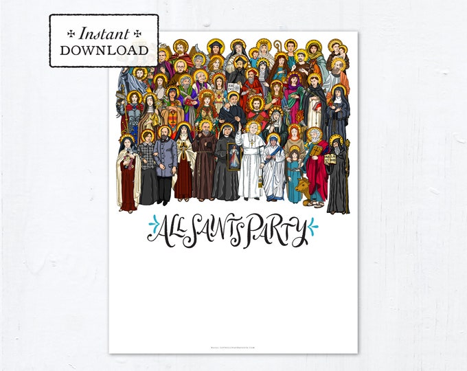 """All Saints Day Party Invitation Flyer DIY Blank Template - Customize and Print It Yourself - Downloadable PDF & JPG 8.5""""x11"""" Printable pdf"""