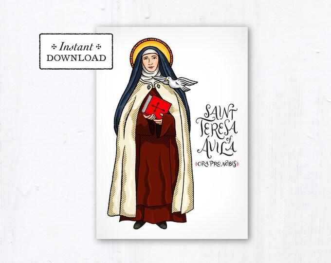 """St. Teresa of Avila Card - Art Print - Instant Download - DIY Downloadable PDF 5""""x7"""""""