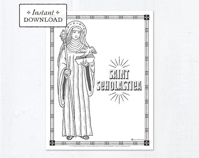 Catholic Coloring Page - Saint Scholastica - Catholic Saints - Printable Coloring Page - Digital - PDF