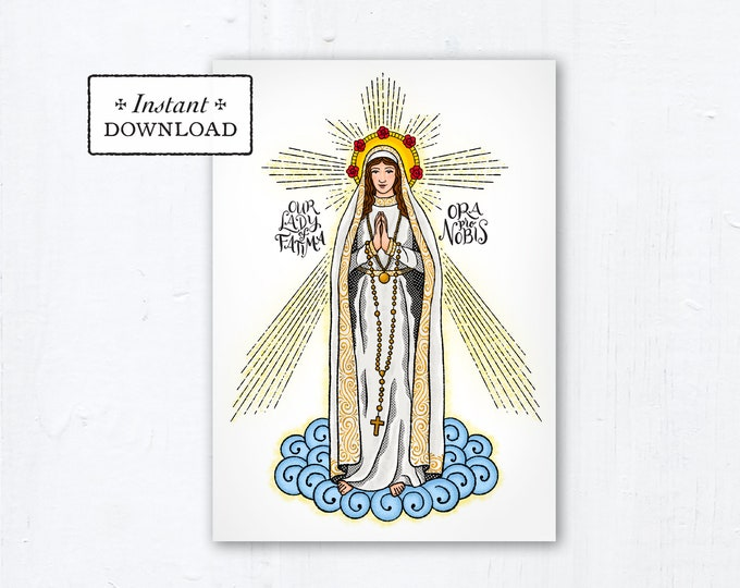 "Our Lady of Fatima Card - Art Print - Instant Download - DIY Downloadable PDF 5""x7"" - Saint Card Saint Art Print Confirmation Gift"