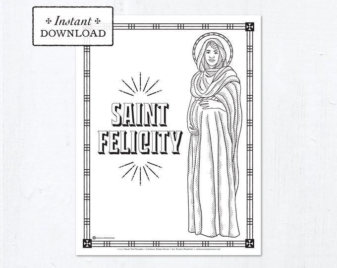 Catholic Coloring Page - Saint Felicity - Catholic Saints - Printable Coloring Page - Digital - PDF