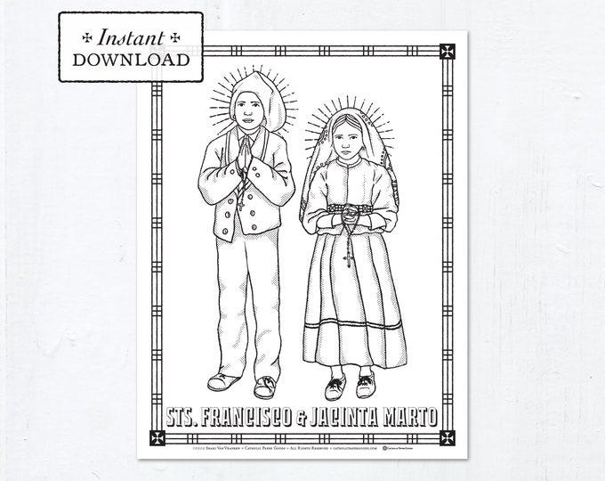 Catholic Coloring Page - Saints Francisco & Jacinta Marto - Catholic Saints - Printable Coloring Page - Digital - PDF