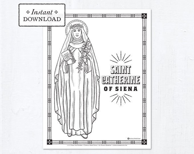 Catholic Coloring Page - Saint Catherine of Siena - Catholic Saints - Printable Coloring Page - Digital - PDF