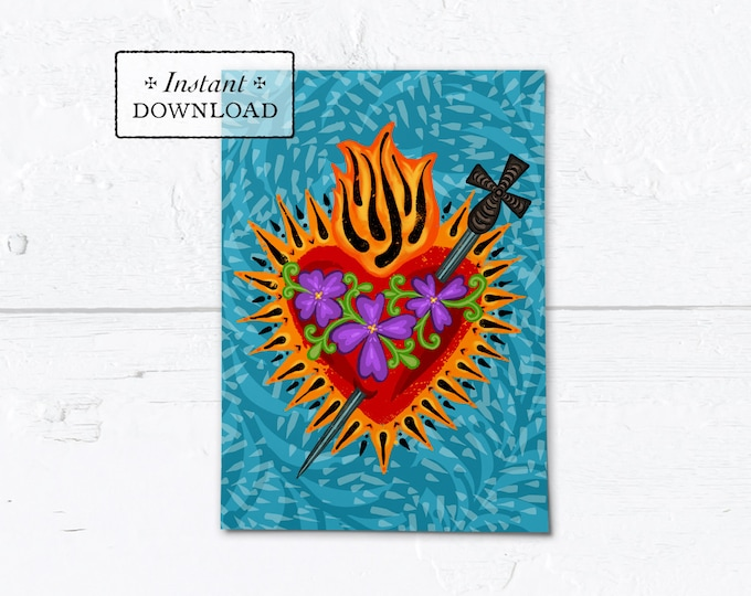 "Catholic Valentine Card Immaculate Heart of Mary - Printable - DIY Downloadable PDF - A7  5""x7"""