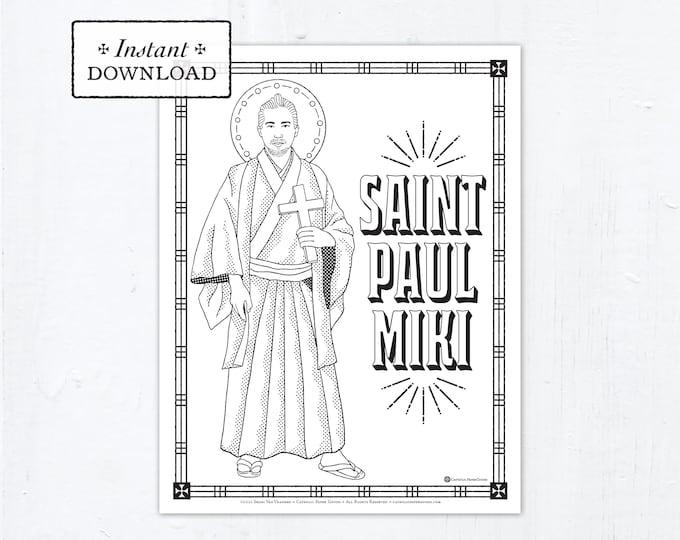 Catholic Coloring Page - Saint Paul Miki - Catholic Saints - Printable Coloring Page - Digital - PDF