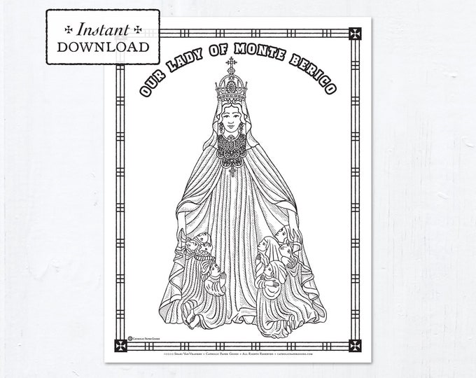 Catholic Coloring Page - Our Lady of Monte Berico - Catholic Saints - Printable Coloring Page - Digital - PDF