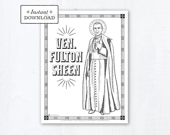 Catholic Coloring Page - Venerable Fulton Sheen - Catholic Saints - Printable Coloring Page - Digital - PDF