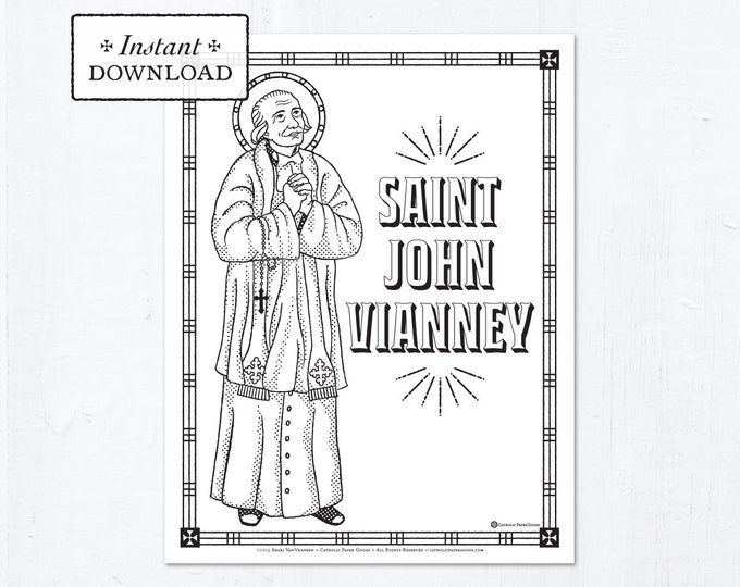 Catholic Coloring Page - Saint John Vianney - Catholic Saints - Printable Coloring Page - Digital - PDF