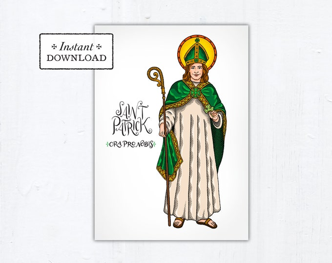 "St. Patrick Card - Art Print - Instant Download - DIY Downloadable PDF 5""x7"""