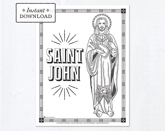 Catholic Coloring Page - Saint John the Evangelist - Catholic Saints - Printable Coloring Page - Digital - PDF
