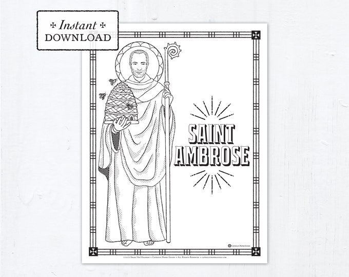 Catholic Coloring Page - Saint Ambrose - Catholic Saints - Printable Coloring Page - Digital - PDF