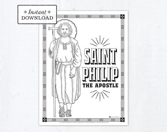 Catholic Coloring Page - Saint Philip the Apostle - Catholic Saints - Printable Coloring Page - Digital - PDF