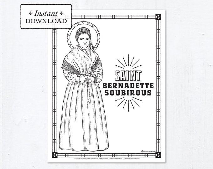 Catholic Coloring Page - Saint Bernadette - Catholic Saints - Printable Coloring Page - Digital - PDF