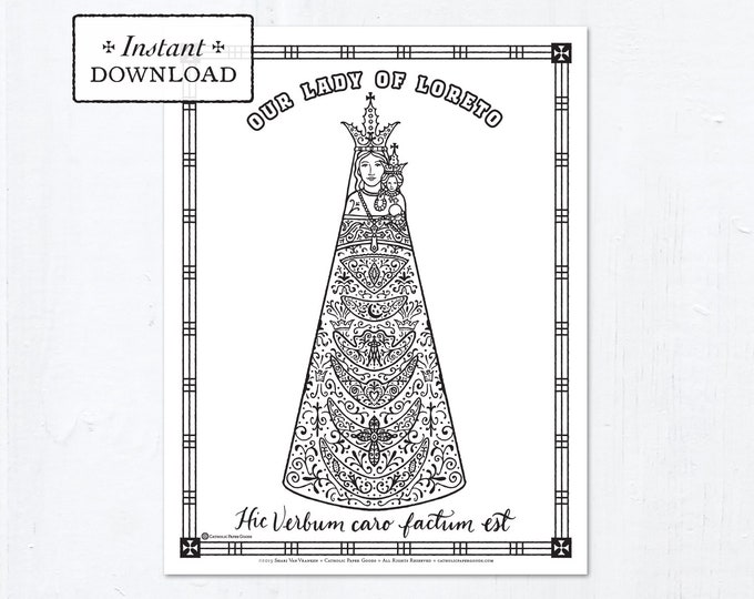 Catholic Coloring Page - Our Lady of Loreto - Catholic Saints - Printable Coloring Page - Digital - PDF