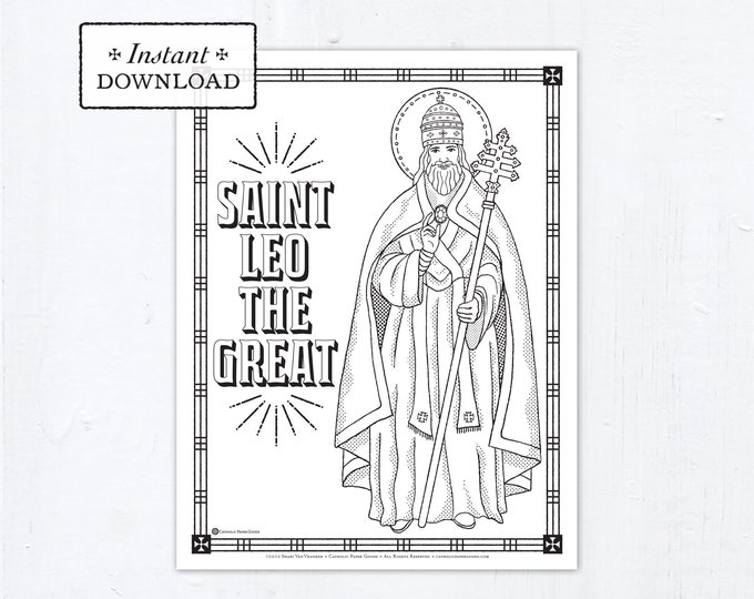 Catholic Coloring Page - Saint Leo the Great - Catholic Saints - Printable Coloring Page - Digital - PDF