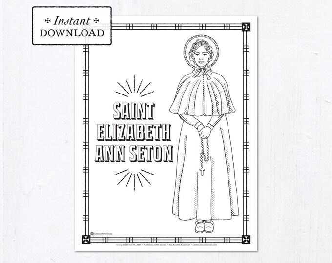 Catholic Coloring Page - Saint Elizabeth Ann Seton - Catholic Saints - Printable Coloring Page - Digital - PDF
