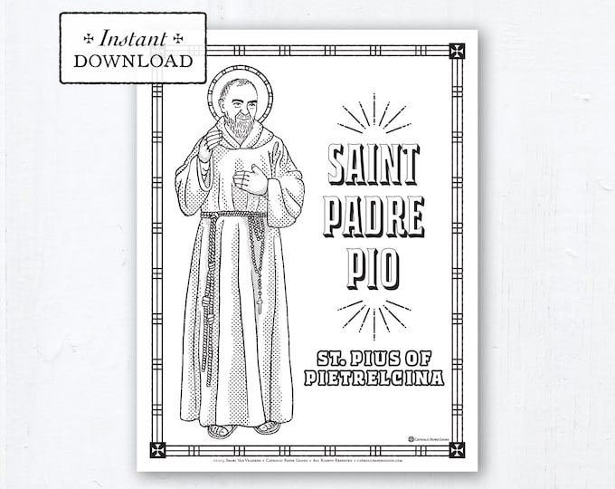 Catholic Coloring Page - Saint Padre Pio (St. Pius of Pietrelcina) - Catholic Saints - Printable Coloring Page - Digital - PDF