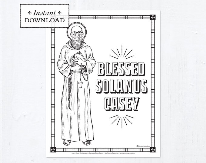 Catholic Coloring Page - Blessed Solanus Casey - Catholic Saints - Printable Coloring Page - Digital - PDF