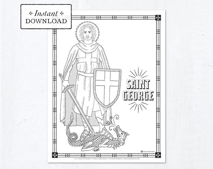 Catholic Coloring Page - Saint George - Catholic Saints - Printable Coloring Page - Digital - PDF