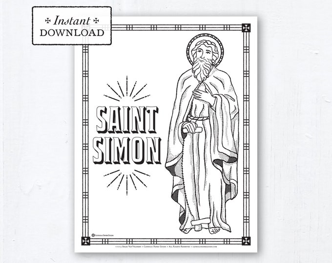 Catholic Coloring Page - Saint Simon - Catholic Saints - Printable Coloring Page - Digital - PDF