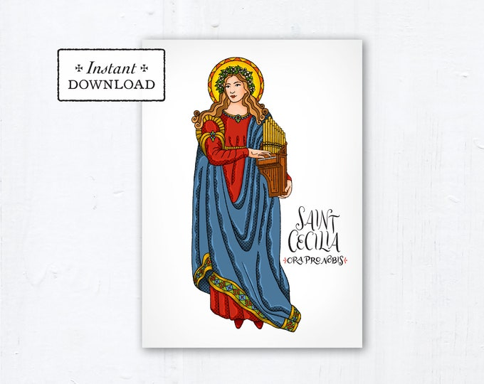 "Saint Cecilia Card - Art Print - Instant Download - DIY Downloadable PDF 5""x7"" - Saint Printable Saint Art Print Confirmation Gift Baptism"