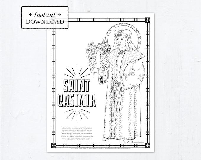 Catholic Coloring Page - Saint Casimir - Catholic Saints - Printable Coloring Page - Digital - PDF