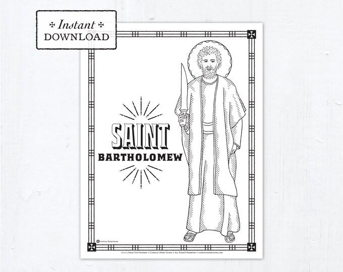 Catholic Coloring Page - Saint Bartholomew - Catholic Saints - Printable Coloring Page - Digital - PDF