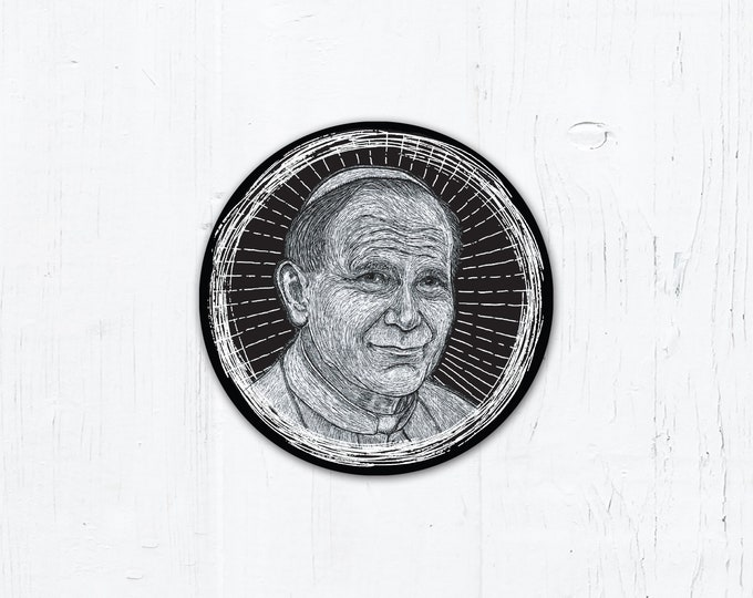 "Pope St. John Paul II Digital Woodcut - Catholic Vinyl Sticker 3"" x 3"" Peel & Stick - Weatherproof"