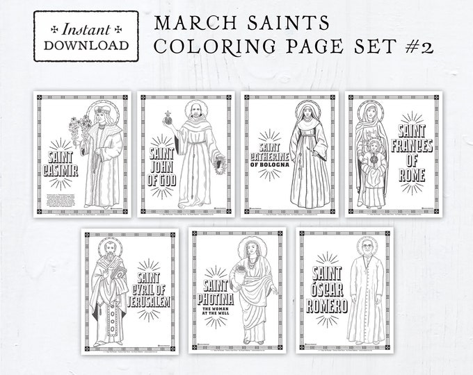 Catholic Coloring Pages - March Saints Set #2 - Bundle of 7 - Catholic Saints - Printable Coloring Pages - Digital - PDF Download