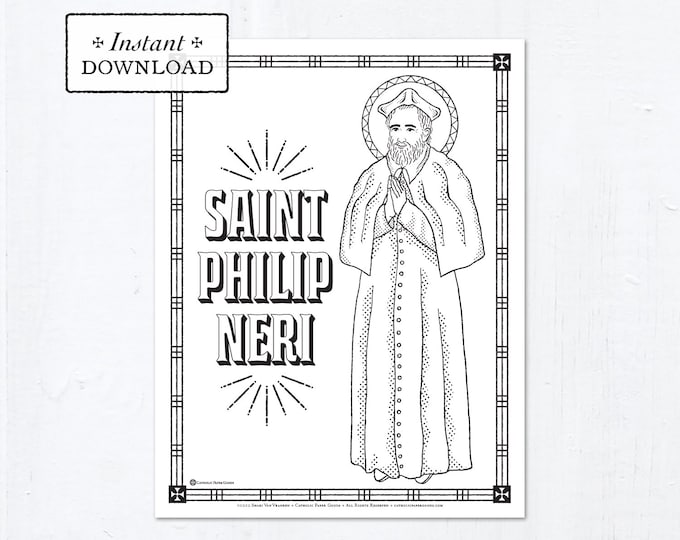 Catholic Coloring Page - Saint Philip Neri - Catholic Saints - Printable Coloring Page - Digital - PDF