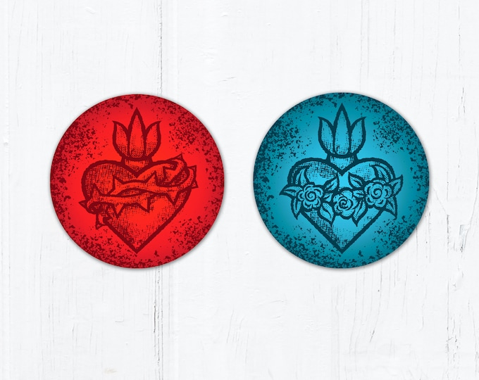 Sacred Heart Red OR Immaculate Heart Blue Circle Vinyl Stickers 3 Inch Peel & Stick