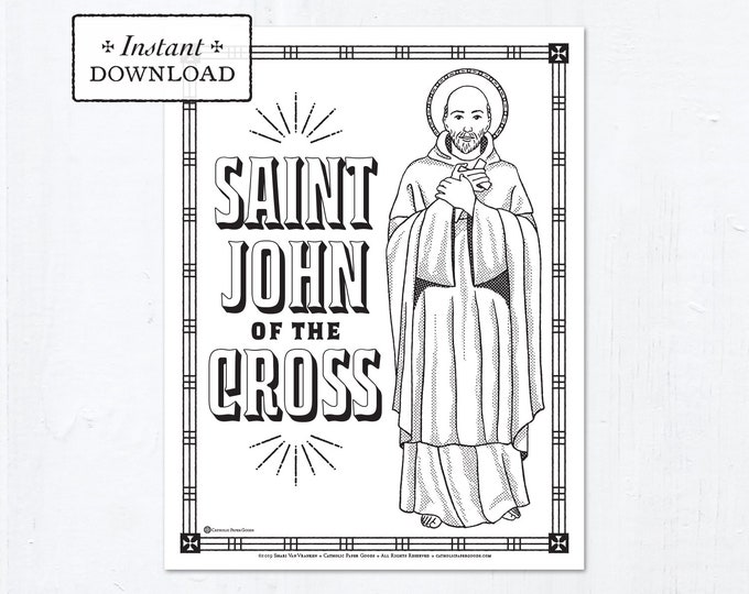 Catholic Coloring Page - Saint John of the Cross - Catholic Saints - Printable Coloring Page - Digital - PDF