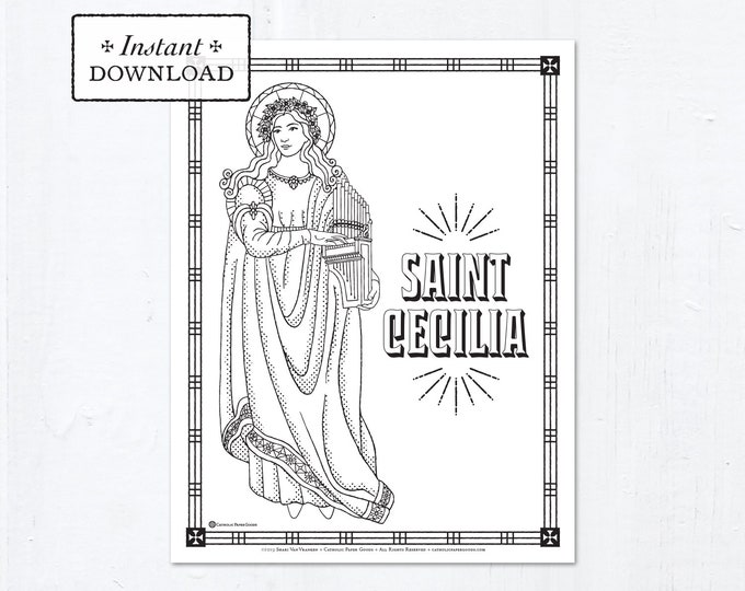 Catholic Coloring Page - Saint Cecilia - Catholic Saints - Printable Coloring Page - Digital - PDF