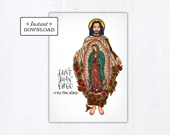 "St. Juan Diego Card - Art Print - Instant Download - DIY Downloadable PDF 5""x7"""