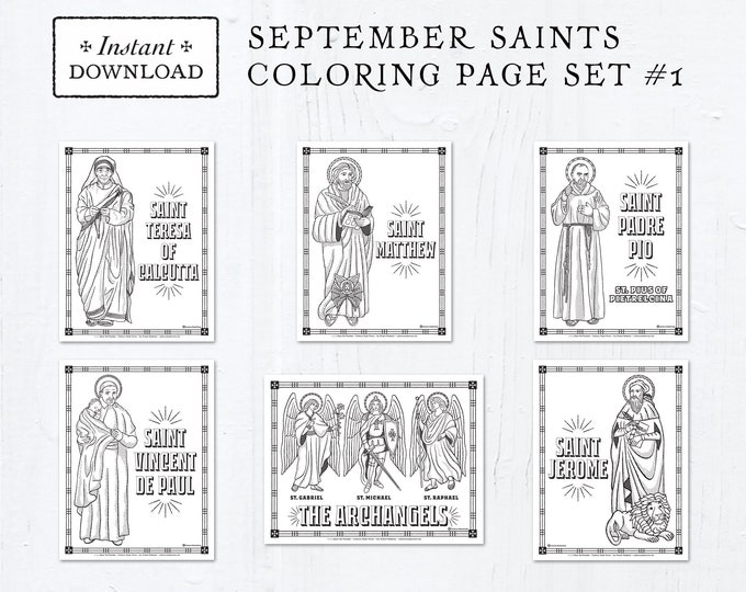 Catholic Coloring Pages - September Saints Set #1 - Bundle of 6 - Catholic Saints - Printable Coloring Pages - Digital - PDF