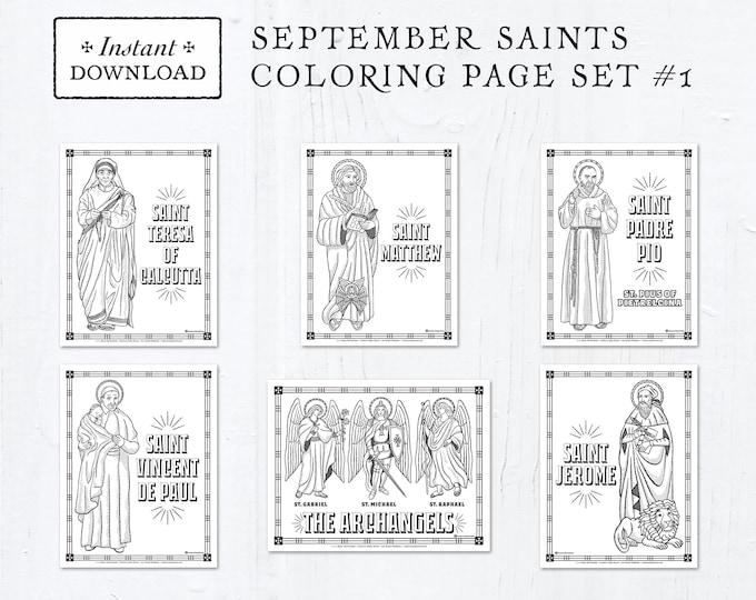 Catholic Coloring Pages - September Saints Set #1 - Bundle of 6 - Catholic Saints - Printable Coloring Pages - Digital - PDF