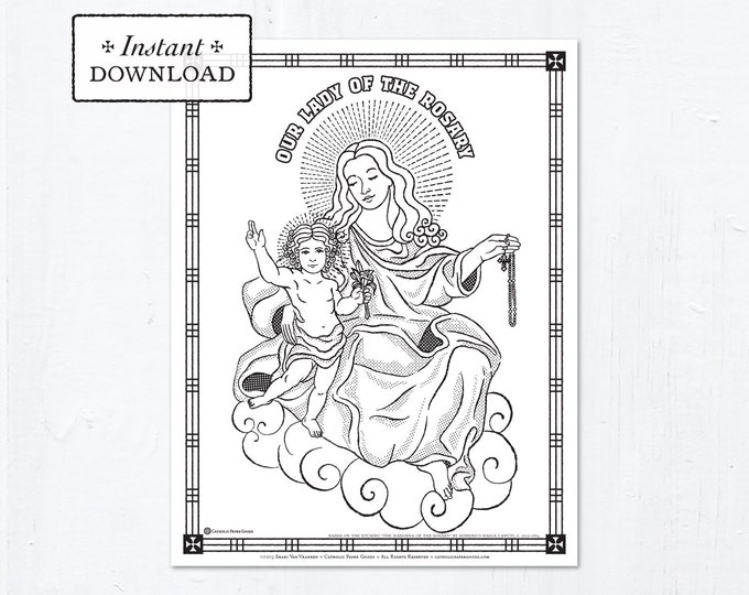 Catholic Coloring Page - Our Lady of the Rosary - Catholic Marian Art - Printable Coloring Page - Digital - PDF