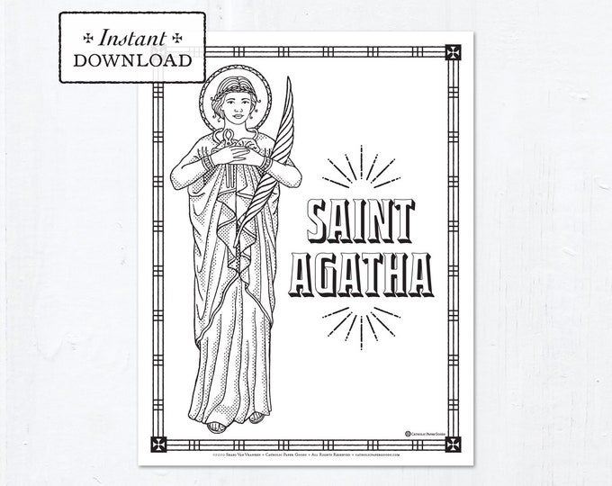 Catholic Coloring Page - Saint Agatha - Catholic Saints - Printable Coloring Page - Digital - PDF