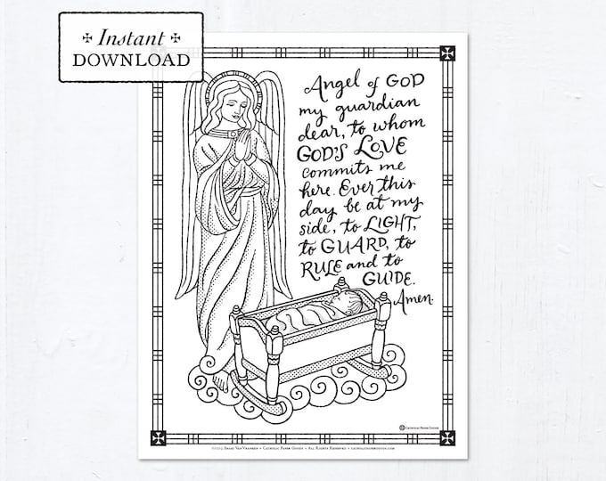 Catholic Coloring Page - The Holy Guardian Angels - Catholic Saints - Printable Coloring Page - Digital - PDF