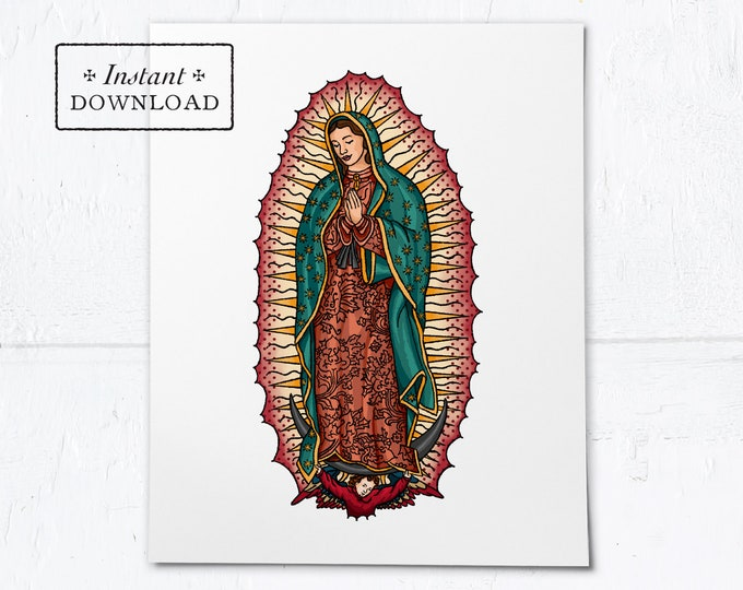 "Our Lady of Guadalupe Frameable Art Print - Instant Download - DIY Downloadable PDF 8""x10"""