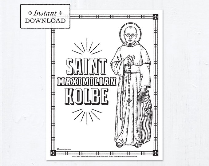 Catholic Coloring Page - Saint Maximilian Kolbe - Catholic Saints - Printable Coloring Page - Digital - PDF