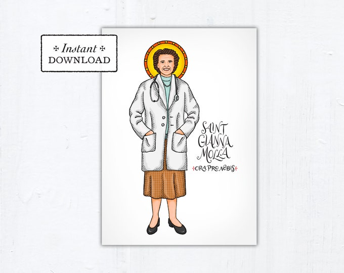 "St. Gianna Molla Card - Art Print - Instant Download - DIY Downloadable PDF 5""x7"""