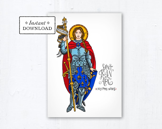"Saint Joan of Arc Card - Art Print - Instant Download - DIY Downloadable PDF 5""x7"" Saint Printable Saint Art Print Confirmation Gift Baptism"