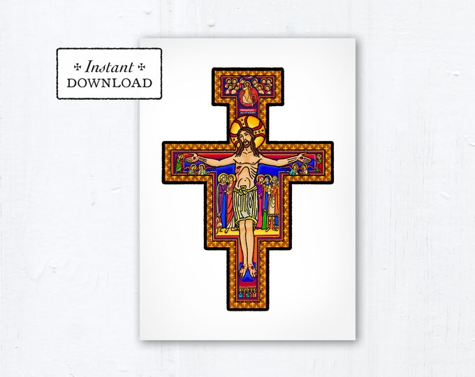 "San Damiano Cross Card - Art Print - Instant Download - DIY Downloadable PDF 5""x7"""