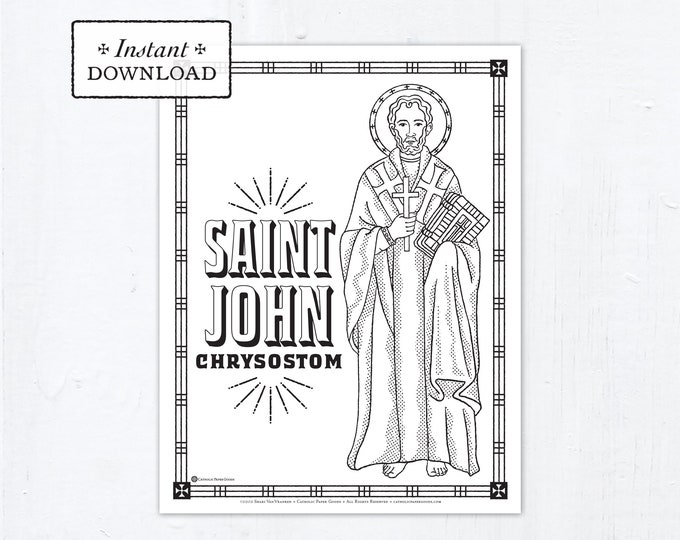 Catholic Coloring Page - Saint John Chrysostom - Catholic Saints - Printable Coloring Page - Digital - PDF