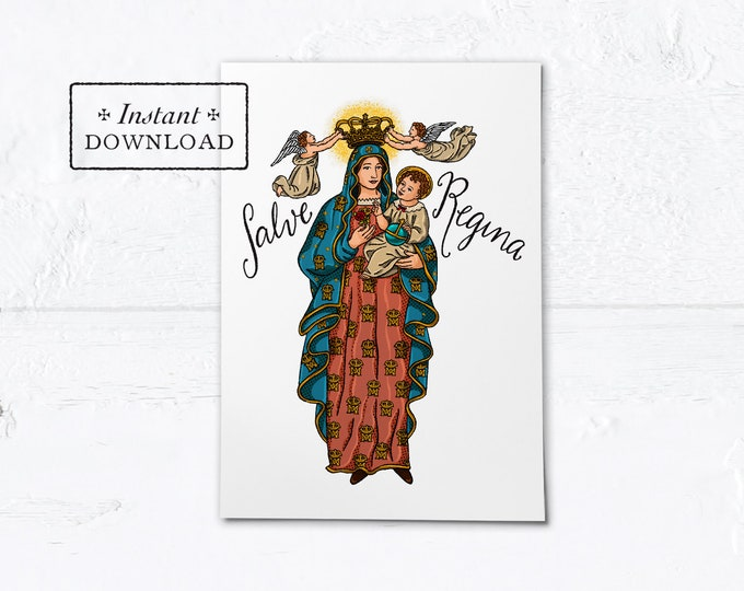 "Salve Regina Queenship of Mary Card - Greeting Card or Art Print - Instant Download - DIY Downloadable PDF 5""x7"""