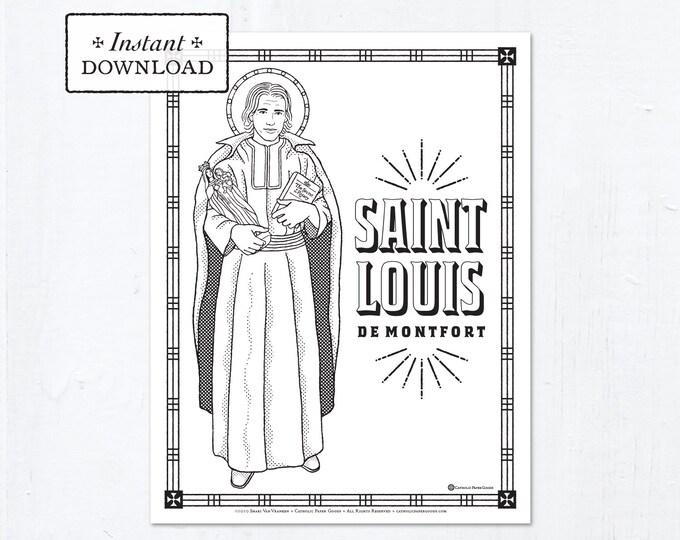 Catholic Coloring Page - Saint Louis de Montfort - Catholic Saints - Printable Coloring Page - Digital - PDF