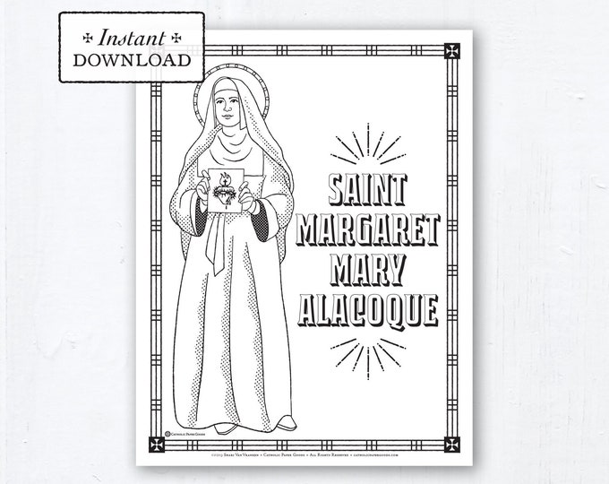 Catholic Coloring Page - Saint Margaret Mary Alacoque - Catholic Saints - Printable Coloring Page - Digital - PDF