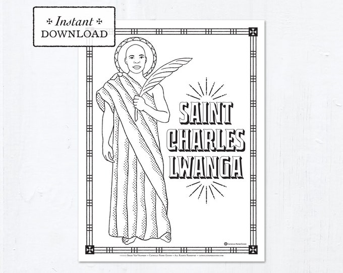 Catholic Coloring Page - Saint Charles Lwanga - Catholic Saints - Printable Coloring Page - Digital - PDF